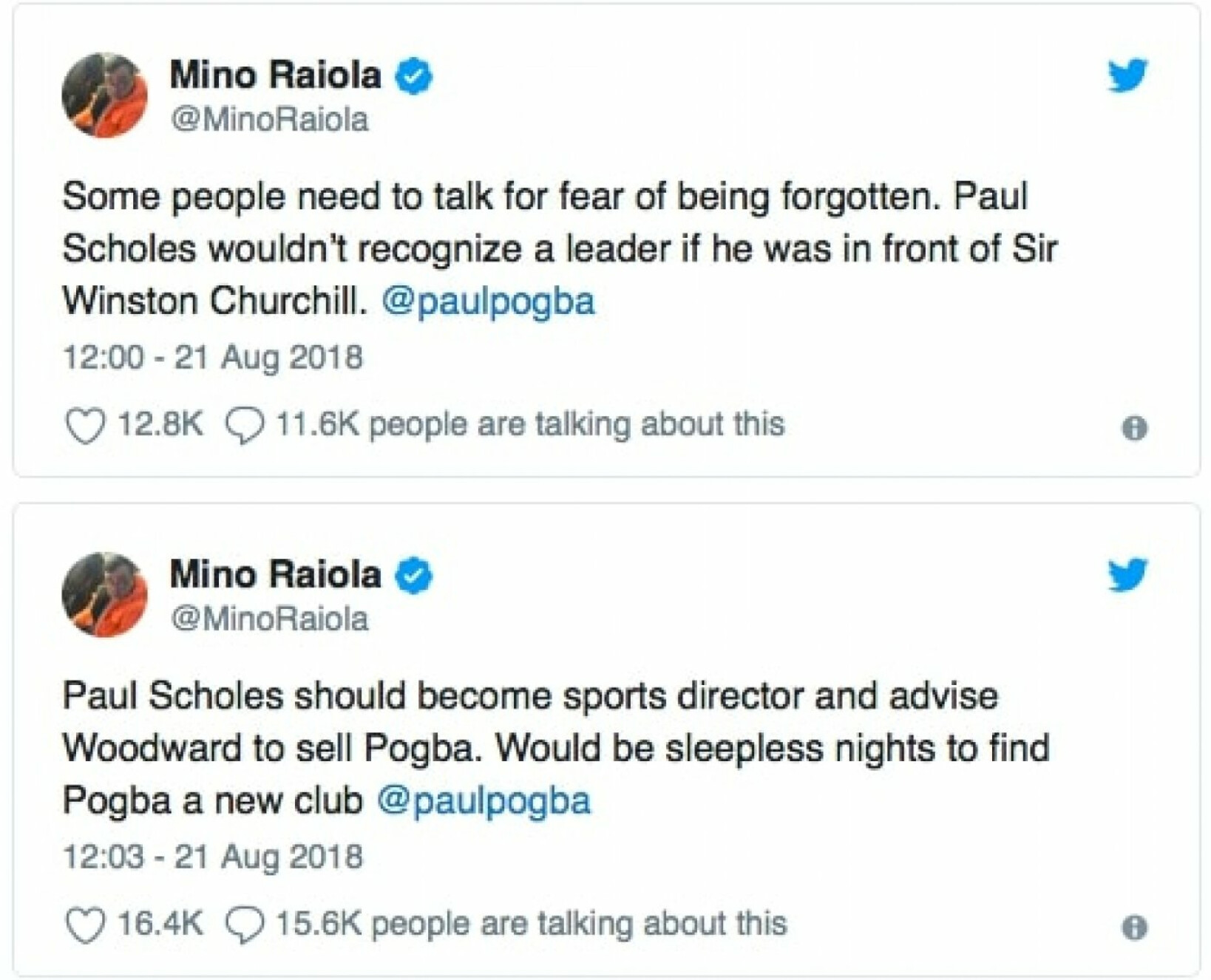 'Scholes should be Man Utd director of football & sell Pogba!' - Mino Raiola in incredible twitter r