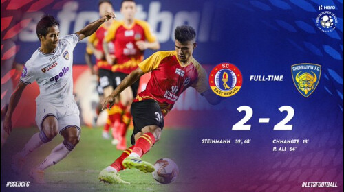 ISL SC East Bengal held Chennaiyin for a 2-2 draw thanks to the Steinmann's brace.